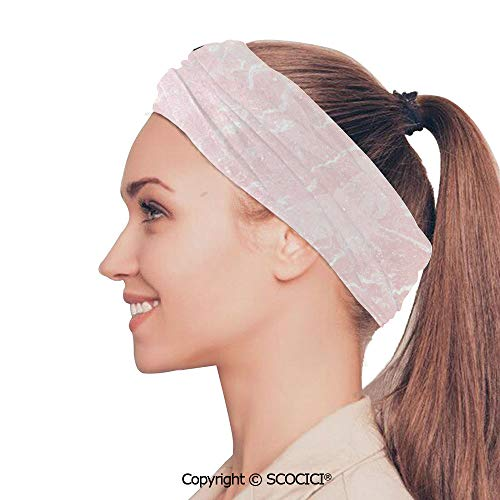 SCOCICI Stretch Soft and Comfortable W9.4xL18.9in Headscarf Headbands Murky Gemstone Scratches Nature Mineral Crystal Style Beauty Elegance Print Decorative,Light Pink White Perfect for Running, Wor