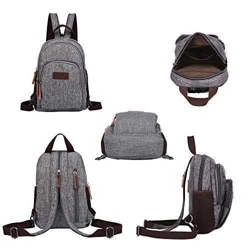 Backpack Purse, Packism Water Resistant Mini Backpack for Women Small Sling Bag, Heavy Duty Messenger Bag Casual Shoulder Bag, Grey