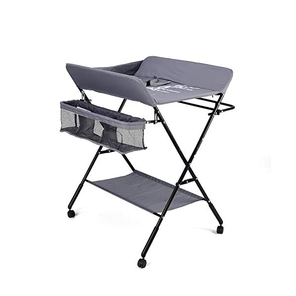 Baby Changing Table with Wheels, Adjustable Height Folding Portable Diaper Station Nursery Organizer with Newborn Clothes Drying Rack & Storage Rack for Infant