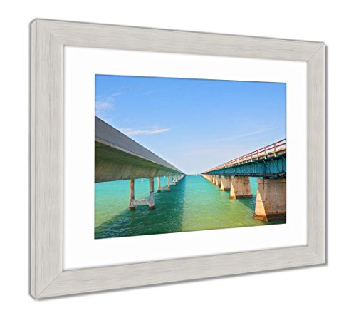 Ashley Framed Prints Bridges Going To Infinity Seven Mile Bridge In Key West Florida, Wall Art Home Decoration, Color, 30x35 (frame size), Silver Frame, (Art West Bay)