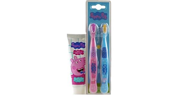 Peppa Pig - Juego de 2 cepillos de dientes y pasta de dientes Set de regalo: Amazon.es: Hogar