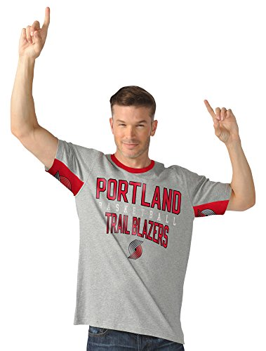 NBA Portland Trail Blazers Men's Cut Back Short Sleeve Fashion Top, Large, - Portland Fashion Mens
