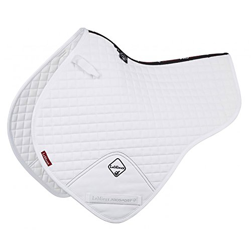 (Le Mieux ProSport Close Contact Half Square D Ring Saddle Pad Large White )