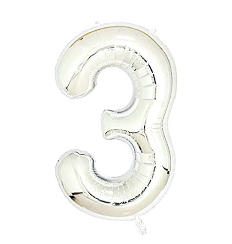 2 Pcs 42 Inch Silver Number 3 Foil Balloons by GOER,Number Balloons for Silver Party Decorations