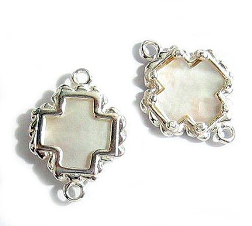 1 pc .925 Sterling Silver Cross Link Connector Bead 19.7mm W/Mother Of Pearl (Mop Dangle)