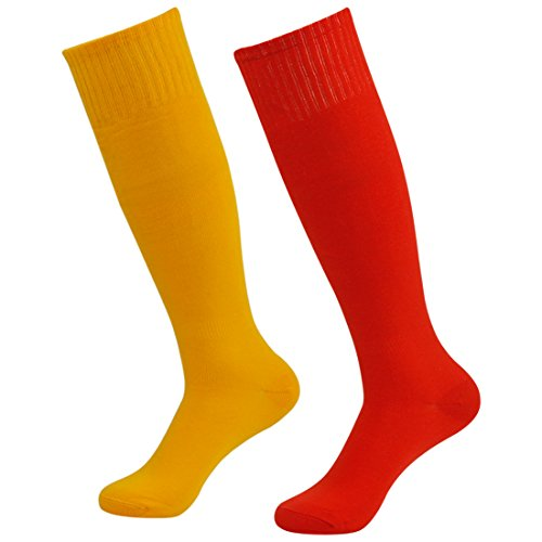 Fasoar Unisex Youth igh Stretch Rugby Football Sports Socks Boot Socks Pack of 2 Red Orange  2 pack red orange  One - Stretch Cotton Rugby