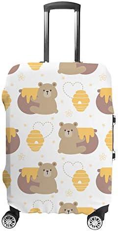 スーツケースカバー クマ はちみつ 伸縮素材 キャリーバッグ お荷物カバ 保護 傷や汚れから守る ジッパー 水洗える 旅行 出張 S/M/L/XLサイズ