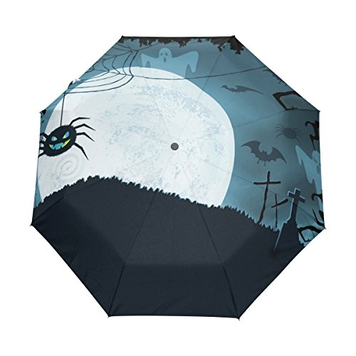 MAPOLO Blue Halloween Scary Spider Bat Pattern Umbrella Double Sided Canopy Auto Open Close Foldable Travel Rain Umbrellas