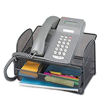 Onyx Angled Mesh Steel Telephone Stand, 11 3/4 x 9 1/4 x 7, Black by Safco
