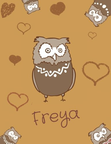 Freya: Personalized Freya name owl themed Sketchbook or blank book journal. Unique owl Personalisiert Eule