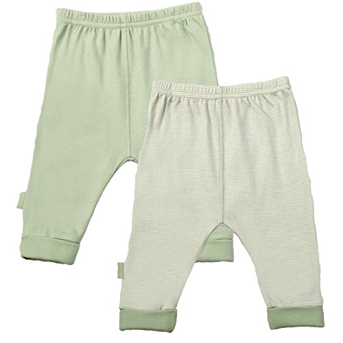 Kushies Baby Everyday Footed Sleep Pant, Pack of 2, Sage Solid/Stripe, 3 Months