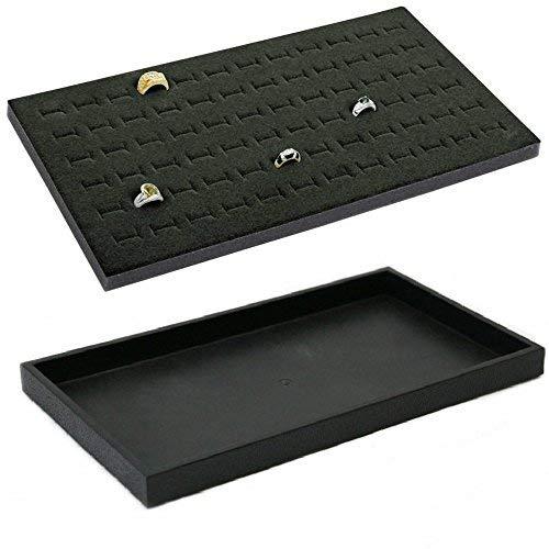 72 Slot Black Jewelry Travel Ring Insert & Stackable Tray Black Foam (Black Ring Foam w/Tray)