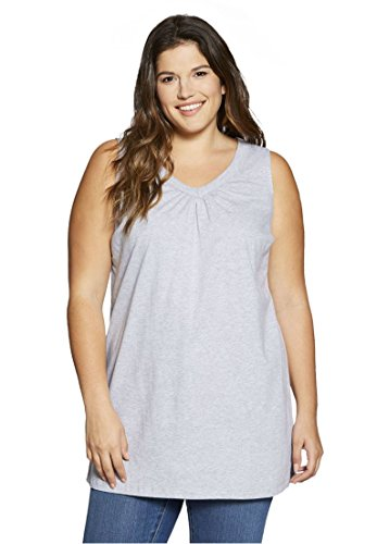 Women's Plus Size Top, Perfect Tunic, Sleeveless Heather Grey,L