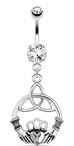 Irish Celtic Knot with Claddagh, 316L 14GA Dangle Navel Belly Ring