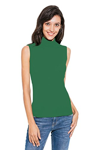 Green Turtleneck Top - Nasperee Women Sleeveless High Turtleneck/Mock Neck Pullover Slim Fit T Shirt Tank Top Army Green
