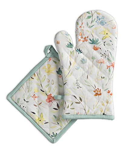 Mitt Flower (Maison d' Hermine Colmar 100% Cotton Set of Oven Mitt (7.5 Inch by 13 Inch) and Pot Holder (8 Inch by 8 Inch))
