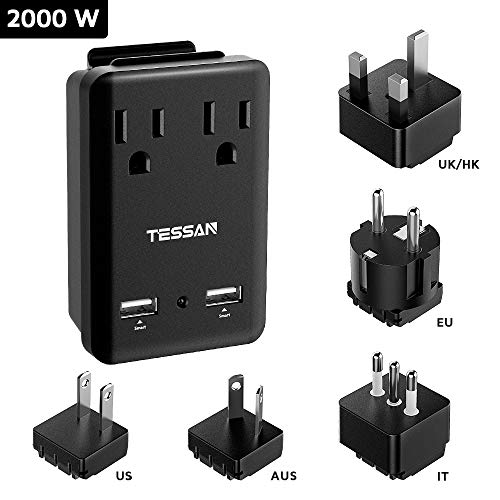 Universal Power Adapter, TESSAN Worldwide Travel Adapter Converter, International Adapter Kit 2000W, 2 USB Ports 2 US Outlets 5 Plug Europe Italy UK Japan China Australia Cover 200+ Countries - Charging Kit Us Outlet Plug