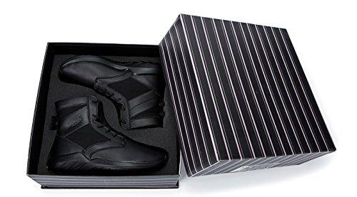 Soulsfeng Hommes Femmes Pas de Talon Unisexe Cheville Bottes Lace Up Cushioning Noir en Cuir Hiver Neige Chaussures I12q6q