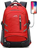 Backpack Bookbag For School Student College Travel Business With USB Charging Port 15.6 inch Laptop compartment Anti theft Night Light Reflective Luggage Straps (Red)