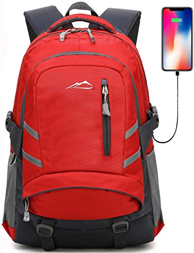 Backpack Bookbag for School Student College Travel Business with USB Charging Port 15.6 inch Laptop compartment Anti theft Night Light Reflective Luggage Straps (Red) (Best Bookbag For College)