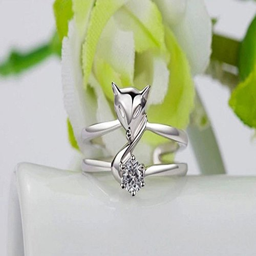new-925-sliver-plated-opening-adjustable-fox-ring-valentines-day-gift-popular