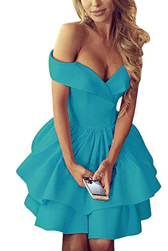 Off Shoulder Homecoming Dresses Short Open Back V-Neck Satin A-Line Prom Dresses Turquoise Size 14 ()