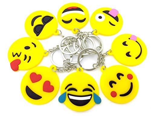 Emoji Keychains, OHill 40 Pack Top 8 Popular Emoji Emoticons Emoji Keyrings Emoji Party Favor Supplies Summer Camp Prizes Carnivals Classroom Rewards Party Favor Bags]()