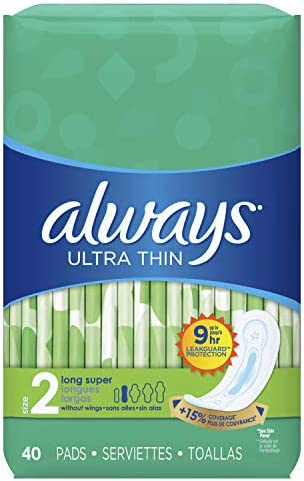 ALWAYS Ultra Thin Size 2 Super Pads Without Wings Unscented, 40 Count (Pack of three)
