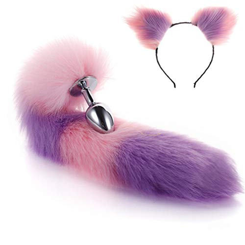 Make life wonderful Pink & Purple Color Interval Three Sizes Fluffy Faux Fox Tail & Cat Ears Headband Charms Role Play Costume Party Cosplay Prop (M) ()