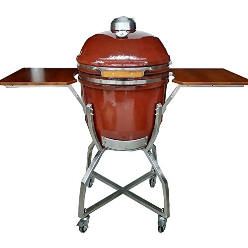 Hanover Grills HAN191KMDCS-RD Ceramic Kamado Grill with Stainless Steel Cart, 19', Red