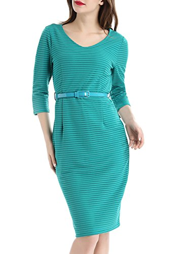 Wellwits Womens Sleeves Stripes Dress