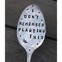 GARDEN MARKER Plant Stake // I DON'T REMEMBER PLANTING THIS // funny garden marker stamped spoon