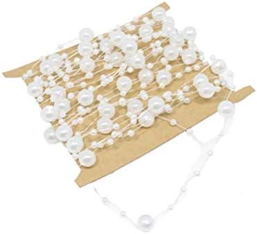 YeahiBaby 10メートル真珠ビーズチェーン人工真珠ビーズトリムウェディングジュエリークラフトdiyパーティーの装飾ホワイト