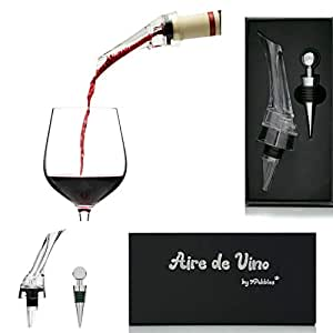 Aire de Vino - Wine Aerator - Premium Aerating Pourer Wine Decanter Spout - Enhance Wine Flavour - with Wine Bottle Stopper in Gift Box for Wine Lovers - Great Kitchen Tool for Home or Party Use