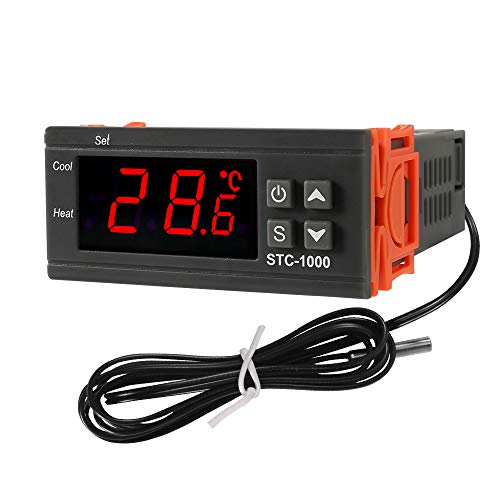 Dorhea Digital LCD Temperature Controller 10A DC 24V Thermostat STC-1000 1m NTC Sensor Thermostat Regulator Heater Cooler 2 Relay Output(24V)