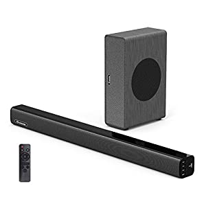 Soundbar with Subwoofer Wohome TV Sound Bar with Sub Wired and Wireless Bluetooth Audio Home Theater System for TVs (2.1 Channel, 80W, 30 Inch, Wall Mountable, Remote Control, Model A3)