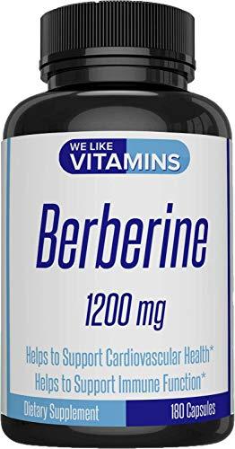 Berberine 1200mg 180 Capsules (Non GMO, Gluten Free, Vegetarian) Best Value Berberine Supplement for Supporting Immune and Cardiovascular Function