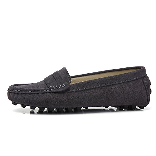 Sunrolan Casual Dames Suede Lederen Mocassins Slip-on Penny Loafers Bootschoenen Flats Beluga