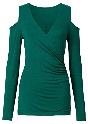 Sexy Long Sleeve Deep V Neck Cross Wrap Front Cold Open Shoulder Shirred Ruched Slim Fit T-Shirt Tee Top Green L