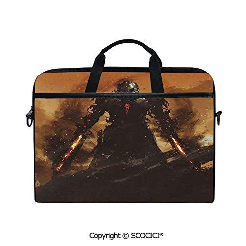 Mobile Edge Select Leather - Customized Printed Laptop Bag Notebook Handbag Robot Warrior Terminator at War Fire Sword Paint Style Futuristic 15