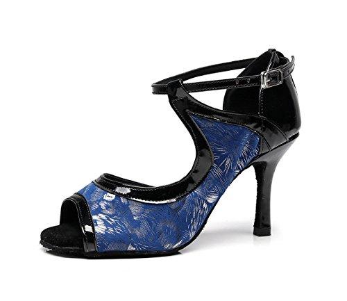Para Tacones JSHOE Tango Mujer Our42 Altos Moderno 5cm Samba De Salsa Chacha Zapatos Blue UK7 Sandalias EU41 Latino heeled7 Baile Jazz qOXwORIr0