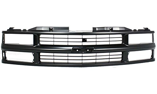 Evan-Fischer EVA17772010587 Grille for Chevrolet C/K Full Size P/U 94-00/Suburban 94-99 Cross Bar Insert Painted-Black W/ Dual/Composite Headlight Replaces Partslink# GM1200239