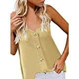 2019 Women's Button Down V Neck Strappy Tank Tops Loose Casual Sleeveless Shirts Blouses (Yellow, L)
