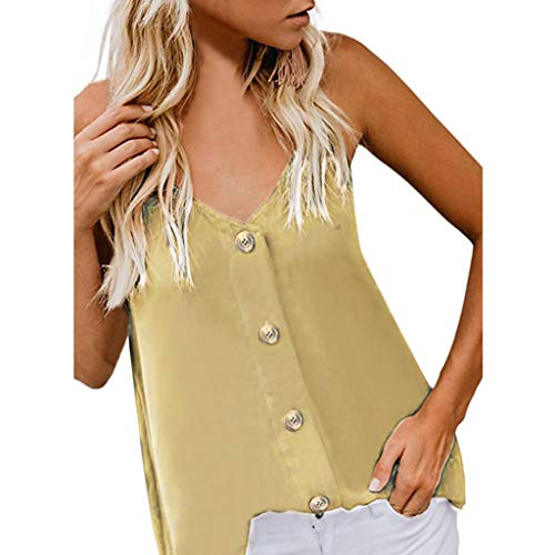 8be0acffd3738 Simayixx Women's Sexy Adjustable Spaghetti Straps Button Up Tank Tops Summer  Beach Camisole V Neck Vest