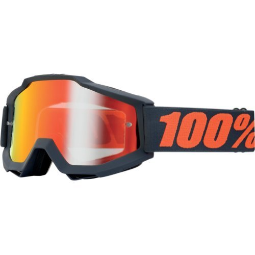 100% Accuri Men's Dirt Bike Motorcycle Goggles Eyewear - Gunmetal/Gray/Orange/Mirror Red / One Size