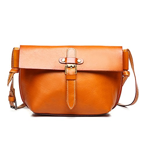 Kinglang Women's Vintage Leather Crossbody Satchel Bag Message Shoulder Handbag Kl-qyw8604-orange