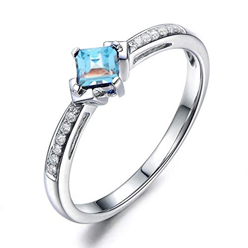 AMDXD Jewelry 925 Sterling Silver Band Womens Blue Square Cut Topaz Square Rings Size 4 -