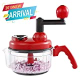 Geedel 2 in 1 Food Chopper, Food Grade Manual Food Processor Mincer Mixer Blender Vegetable Chopper for Onions, Salad, Nuts, Meat, Garlic, Ice, etc/3 Cup Capacity