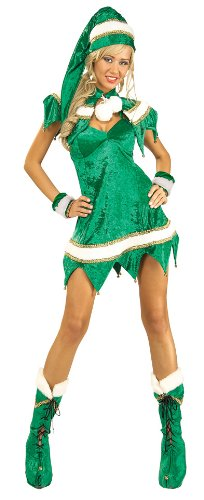Secret Wishes Green Elf 5-Piece Costume, Green, (Christmas Womens Costumes)