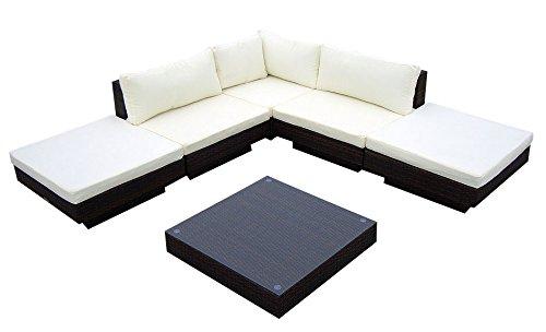 Baidani Gartenmöbel-Sets 10c00002.00001 Designer Rattan Lounge Sunqueen, 1 Sofa, 1 Beistelltisch mit Glasplatte, schwarz